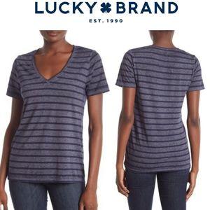 Lucky Brand Striped V Neck Tee